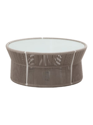 Aruba Coffee Table With Glass And Round Wicker 2